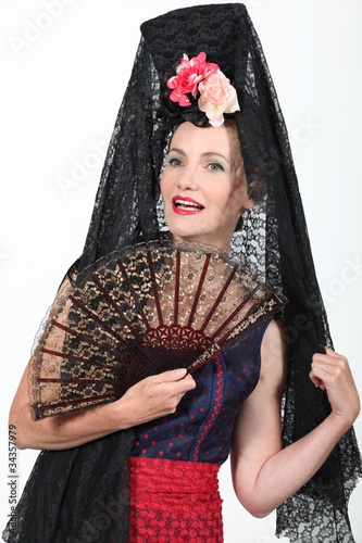 Woman in Spanish Fancy Dress Costume