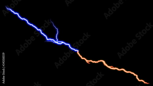 blue and red lightning bolts