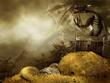 Sceneria fantasy ze smokiem i górą złota