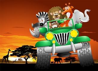 Geep Animali Selvaggi Cartoon Savana-Wild Animals On Jeep
