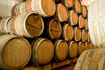Barrel aging the wine in wine factory