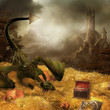 Sceneria fantasy ze smokiem, skarbem i zamkiem