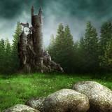 Fototapety Zamek fantasy w lesie