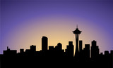 Fototapety silhouette of Seattle city, USA, vector