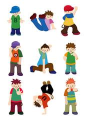 cartoon hip hop boy dancing icon set.