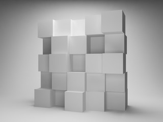 Abstract wall of boxes