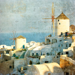 Vintage image of Oia village at Santorini island, Greece