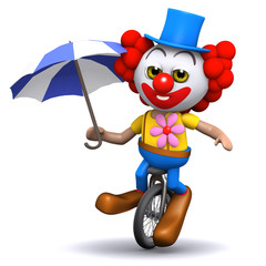 3d Clown balances on his unicycle with an umbrella