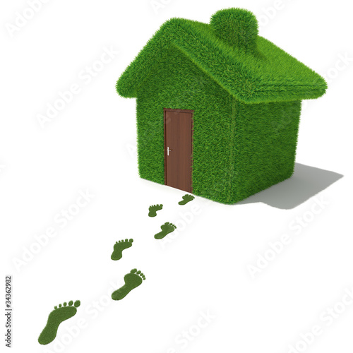 Green grass house with grass footprints