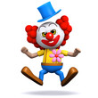 3d Clown jumps in the air