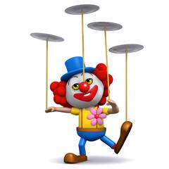 3d Clown balance plates on poles