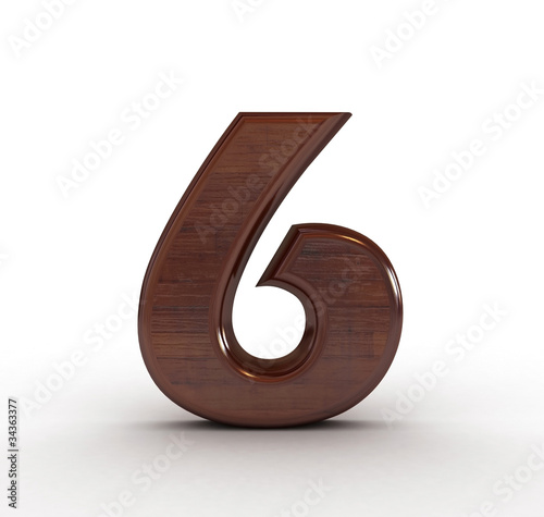 3d wooden numbers. Computer generated 3D photo rendering.