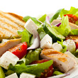 Vegetable salad with roasted chcicken meat and feta