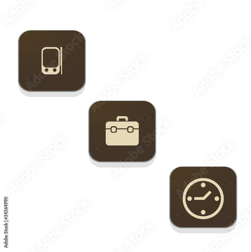 Wood Business Icon Set