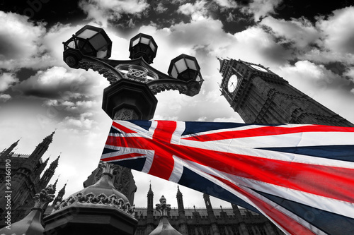 Fototapeta samoprzylepna Big Ben with colorful flag of England, London, UK
