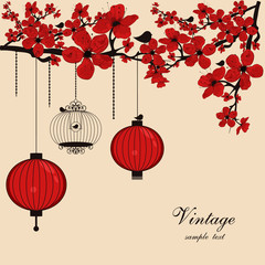 floral background with chinese lanterns and birdcage