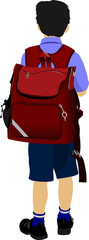 Little boy is going to school. Back to school. Vector illustrati