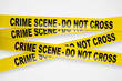Crime scene yellow tapes with clipping path