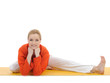 series or yoga photos. young woman doing yoga stretching pose on