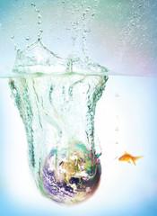 Globe sinking into water
