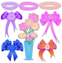 Flowers, bows and wreaths