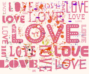 love concept,grungy, with paint splatters, vector