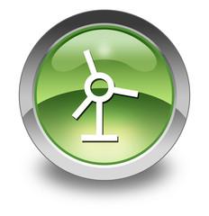 """Green Glossy Pictogram """"Windmill / Wind Turbine"""""""