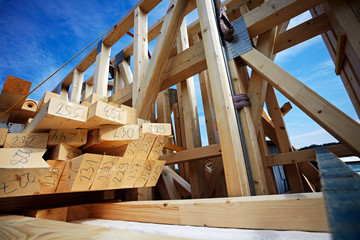 prefabricated framework on a truck