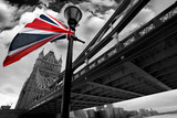 Fototapety London Tower Bridge with colorful flag of England