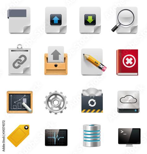 Vector file server administration icon set