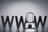 Internet security: Padlock with WWW.