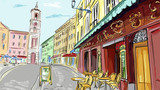 illustration. street - facades of old houses
