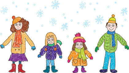 Kids Drawing. Family in the winter