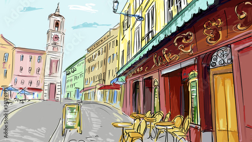 Foto op Aluminium Drawn Street cafe illustration. street - facades of old houses