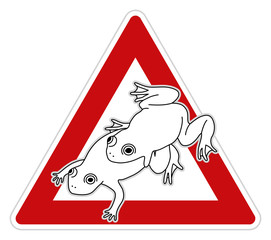 Frogs mating sex. Funny traffic sign, vector illustration.
