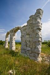 Two Roman arches of the pretoria in Burnum archeological site