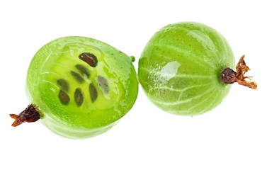 Whole and cross-section of gooseberry fruit isolated on white, m