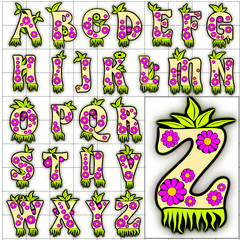 ABC Alphabet background kings floral design