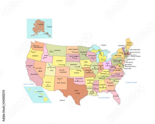 USA Map with names of States and Capital