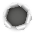 Loch im Browser - Papierloch, aufgerissen, zerrissen, kaputt