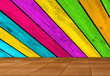 Creative Background - Multicolored Wooden Wall and Tiled Floor