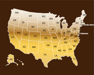 USA Golden Map with initial of States