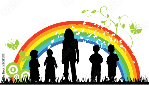 Poster Regenboog vector children silhouettes and rainbow