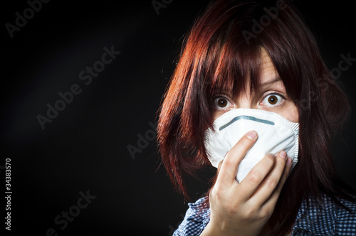 girl wearing protective mask