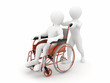 Men on wheelchair. 3d