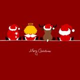 4 Sitting Christmas Symbols Red