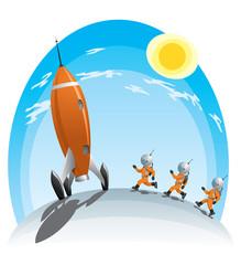 astronauts runing towards the rocket