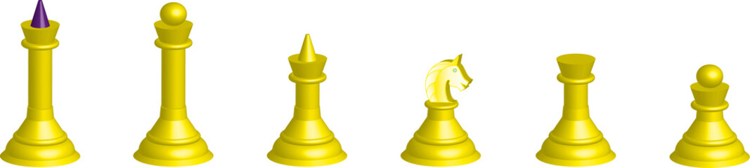 Chessmen collection 3D  (white) isolated on a white background