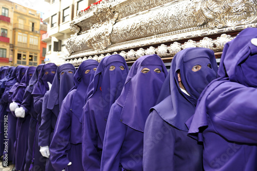 Costaleros bearing a Tronos during Semana Santa in Malaga, Spain