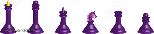 Chessmen collection 3D  (black) isolated on a white background
